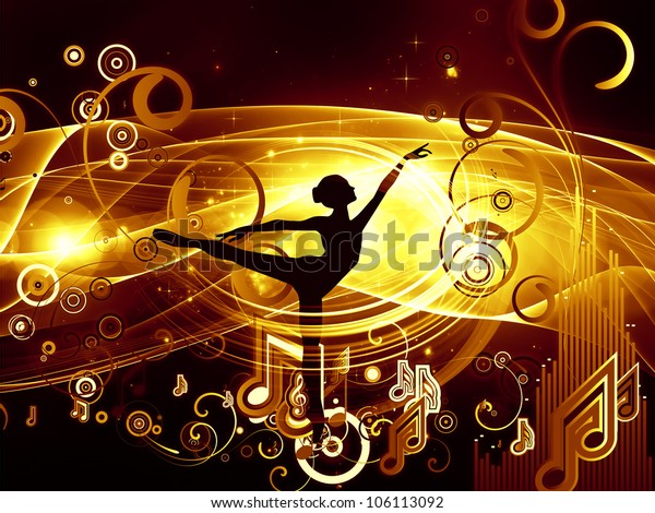 Graphic composition of girl silhouette, notes, lights and abstract design elements to serve as complimentary backdrop for designs on the subject of music, song, performance and dance