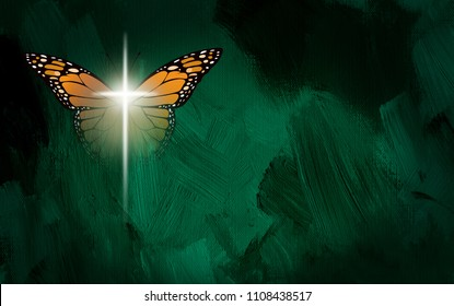 Graphic conceptual illustration of the Christian theme of spiritual rebirth in Jesus Christ. Art composed of glowing cross and Monarch butterfly wings against textured oil paint background.