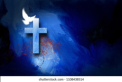 Graphic conceptual illustration of Jesus Christ's victorious sacrifice at the Cross for sin. Art composed of cross, glowing dove and suggestion of sacrificial blood against textured paint background.