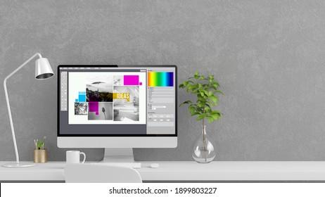 graphic design computer mock up 3d rendering