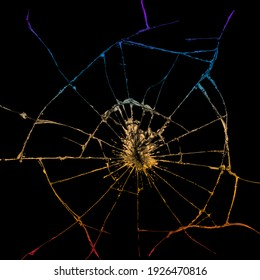 Graphic design looks like a shattered glass with black background and bright colors.