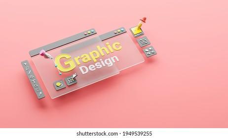 Graphic designer creative creator design logo artwork curve pen tool illustration equipment icons digital computer display workspace. Graphic design software. 3d rendering.