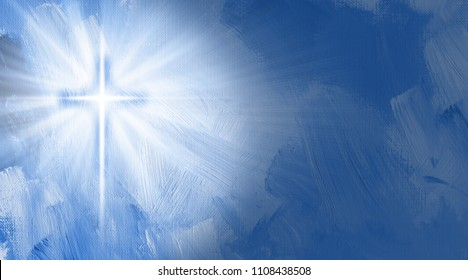 Graphic digital illustration of the Christian Cross of Jesus with rays of light and inner glow.  Conceptual composition includes hand painted textured brush strokes.
