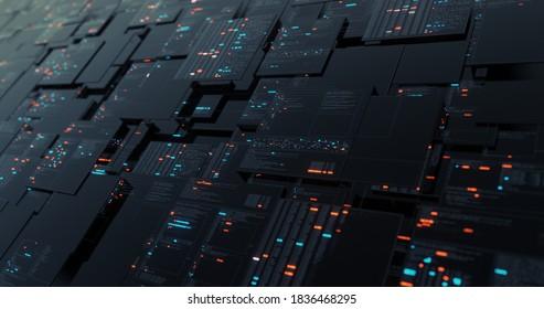 Grafik der digitalen Schnittstelle der Datenanalyse Prozess. User Interface, Digital Screen, HUD und Rechenzentrum Laboranalyse Display. 3D-Darstellung