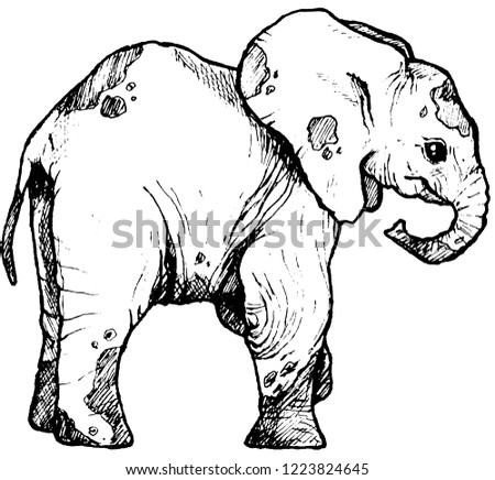 d202dfffc7a Graphic Drawing Elephant Illustration Isolated On Stock Illustration ...