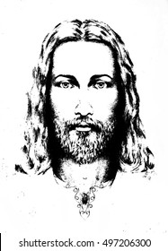 graphic drawing of Jesus, with ornament on clothing. Eye contact. Spiritual concept.