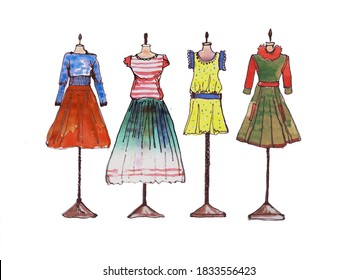 The graphic drawing with watercolor dress