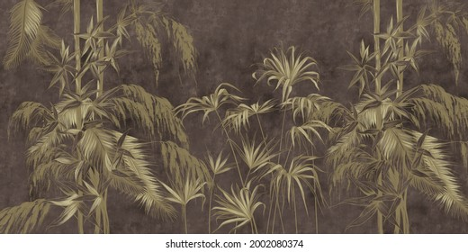 Graphic exotic flowers on the concrete grunge wall. Dark background. Designed for photo wallpaper, wallpaper, mural design in the loft, classic, modern style. Tropical brunches.