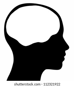 A graphic of a female head silhouette with a white brain area. Isolated on a solid white background.