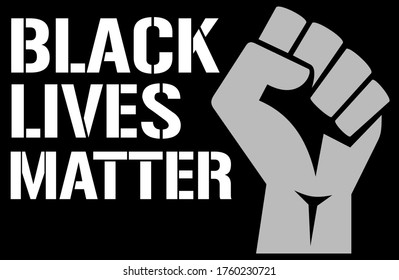 "graphic with fist and slogan ""Black Lives Matter"""