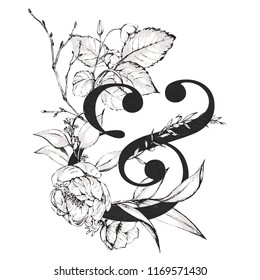 Graphic Floral Alphabet - & ampersand with black and white flowers bouquet composition. Unique collection for wedding invites decoration, logo, baby shower, birthday and many other concept ideas.