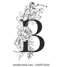 Graphic Floral Alphabet - letter B with black and white flowers bouquet composition. Unique collection for wedding invites decoration, logo, baby shower, birthday and many other concept ideas.