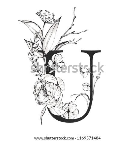 Graphic Floral Alphabet Letter U Black Stock Illustration 1169571484