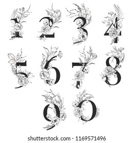 Graphic Floral Numbers - digits 0, 1, 2, 3, 4, 5, 6, 7, 8, 9 with black & white inked flower bouquets. Unique collection for wedding invites, logo, baby shower, birthday and many other concept ideas.