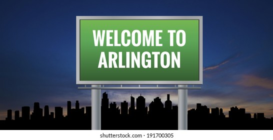 Graphic of a green Arlington, Texas of United States largest cities sign on silhouette skyline and sunset background