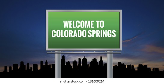 Graphic of a green Colorado Springs, Colorado of United States largest cities sign on silhouette skyline and sunset