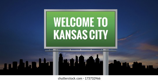 Graphic of a green kansas City, Missouri of United States largest cities sign on silhouette skyline and sunset background