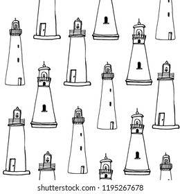 Graphic hand drawn pattern with lighthouse in sketch style on white background