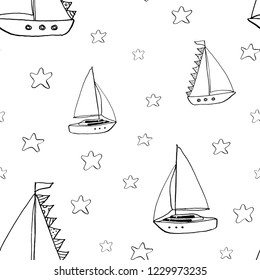 Graphic hand drawn pattern with yachts and stars in sketch style on white background