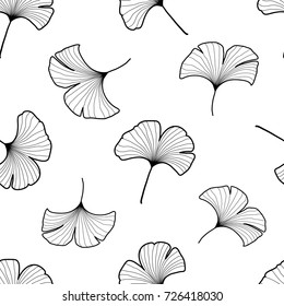 Graphic hand drawn seamless pattern with gingko leaves, black outline, contour on white background. Black and white gingko leaf seamless pattern, background, backdrop, textile design