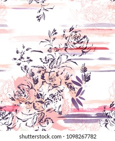 graphic hand painted flowers on brush strokes background