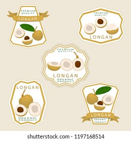 Graphic icon illustration logo for whole ripe fruit yellow longan, slice half dimocarpus. Longan pattern consisting of natural design tropical tasty food. Eat sweet fresh raw fruits exotic longan.