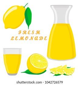 Graphic icon illustration logo yellow jug, liquid lemonade, lemon background. Jug pattern consisting of glass pitcher filled waters lemonades, natural product. Lemonade, drink fresh raw liquid of jugs