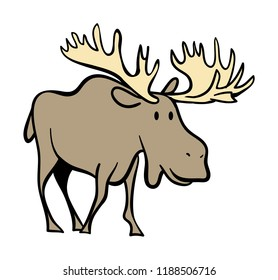 A graphic icon of a large-antlered moose