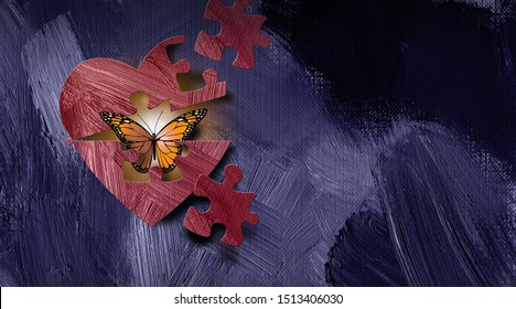 Graphic of iconic butterfly emerging out of heart through a puzzle piece shape opening.