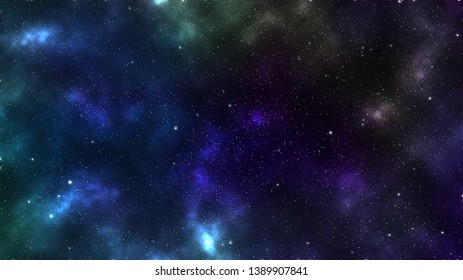 a graphic illustration about a galaxy with stars purple blue