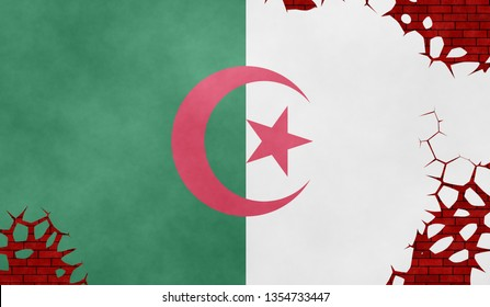 Graphic illustration of an Algerian flag imitating a paiting on the cracked wall