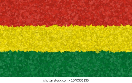 Graphic illustration of Bolivian flag with a flower pattern