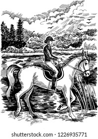 Graphic illustration for a book or magazine. Girl-jockey on a horse in a summer landscape. graphics, ink / pen.