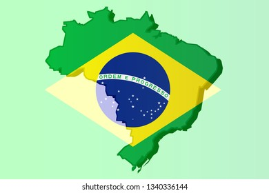 Graphic illustration of a Brazilian flag with a contour of its borders