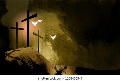 Graphic illustration of Christian crosses at Calvary where Jesus Christ was crucified as a sacrifice for sins. Digital rendition of the scene of the basis of Biblical Gospel of redemptive forgiveness.
