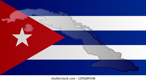 Graphic illustration of a Cuban flag with a contour of its borders