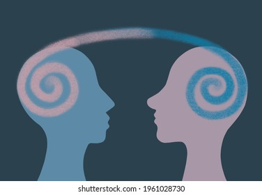 Graphic illustration dialogue between two people. Telepathy. Empathy
