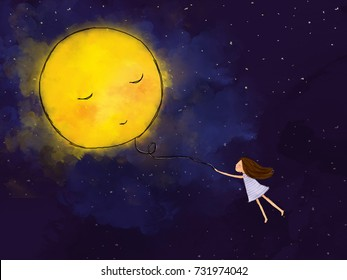 graphic illustration digital watercolor drawing of girl holding yellow bright full moon balloon flying in dark blue starry night sky. Idea of freedom, fantasy, dream, peaceful painting background