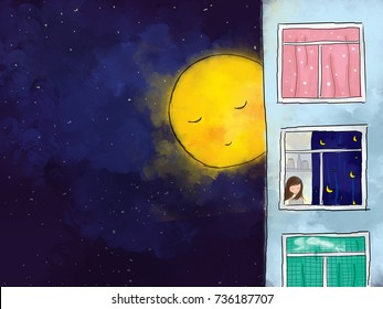 graphic illustration digital watercolor drawing of yellow full moon over dark blue starry night sky watching & guarding lonely girl reading in apartment house. Idea of peaceful background design
