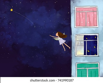 graphic illustration digital watercolor drawing of girl standing at apartment window looking to dark blue starry night sky. Idea of peaceful, flying, freedom, dreaming, imagination background design