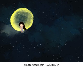 graphic illustration drawing of lonely crying sad girl sitting on yellow full moon & shinning stars in dark blue night sky. Art painting, digital drawing, water color design template wallpaper