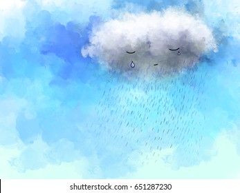 graphic illustration drawing of sad white clouds crying and raining in blue sky. Water color digital drawing.  Idea of  hurt, miserable, emotion, disappointment wallpaper template design background