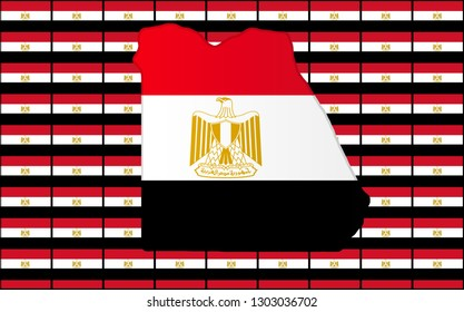 Graphic illustration of an Egyptian flag with a contour of its borders