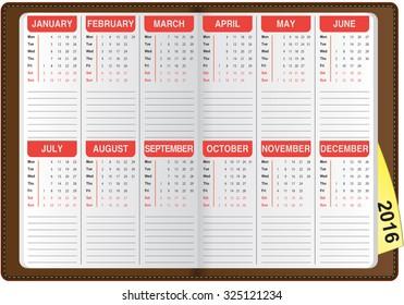 graphic illustration of the English calendar 2016