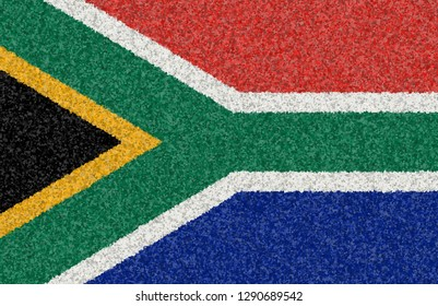Graphic illustration of a flag of the Republic of South Africa with a flower pattern
