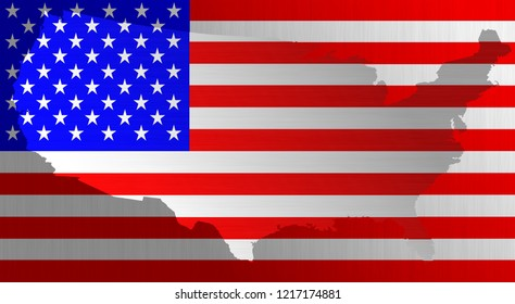 Graphic illustration of a flag of the USA with a contour of bordes