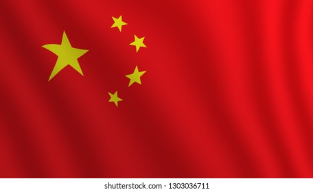 Graphic illustration of a flying Chinese flag