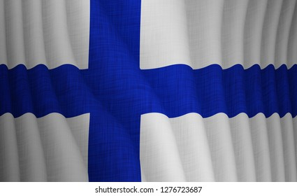 Graphic illustration of a flying Finnish flag with a fabric pattern