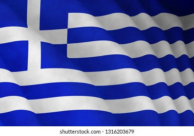 Graphic illustration of a flying Greek flag enlightened from the left
