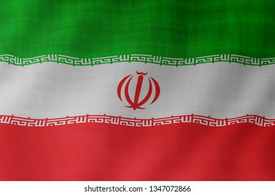 Graphic illustration of a flying Iranian flag enlightened from the left
